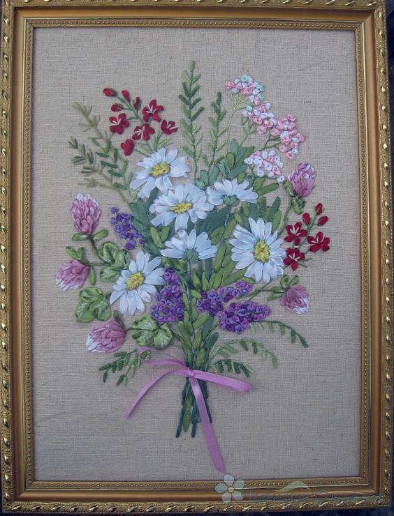 Полевые цветы вышитые лентами мастер класс