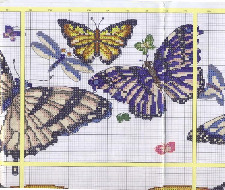 Вышивка бабочки на вязаных изделиях 39