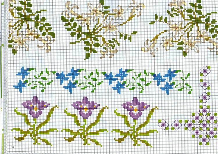 Вышивка крестиком бордюр из мелких цветочков 98