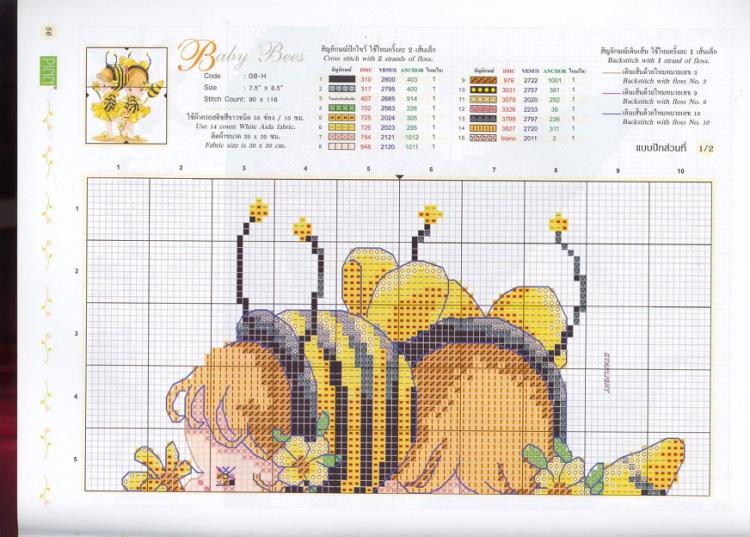Схема по вышивке пчелка 821