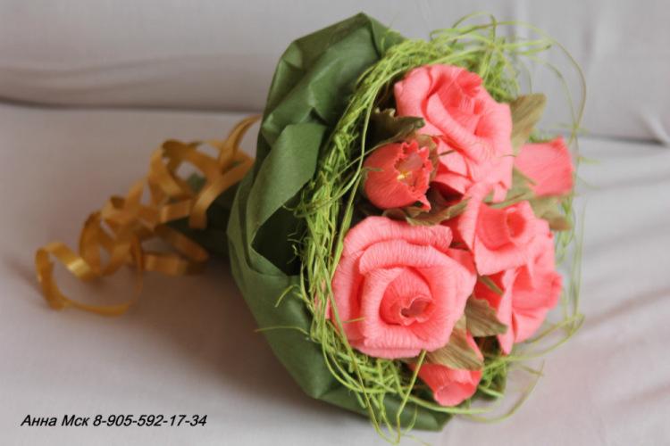 Фото букетов из цветов из гофрированной бумаги