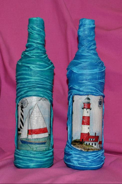 Декор бутылки из чулках