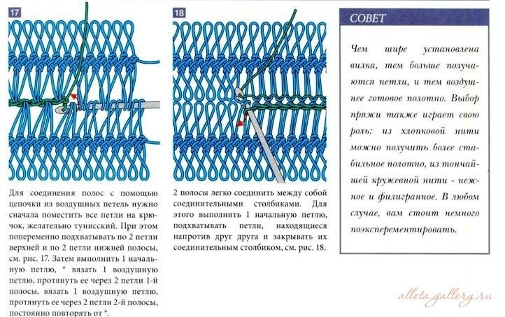 Способы соединения полос вязание на вилке 14